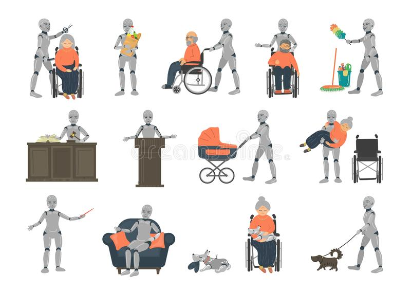 Set from ai robots vector illustration