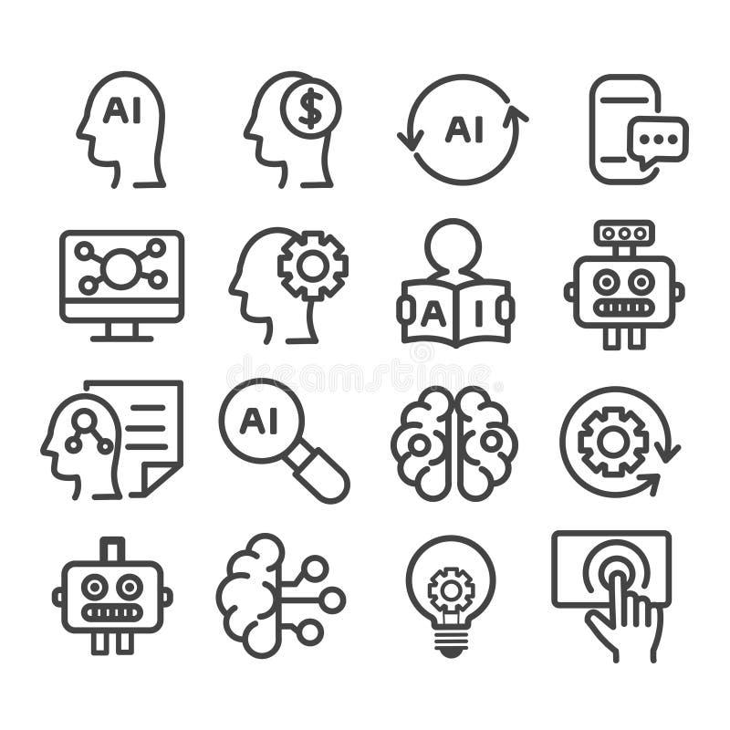 Set AI symbol, sztucznej inteligencji ikona odizolowywająca Nowo?ytny kontur na bia?ym tle royalty ilustracja