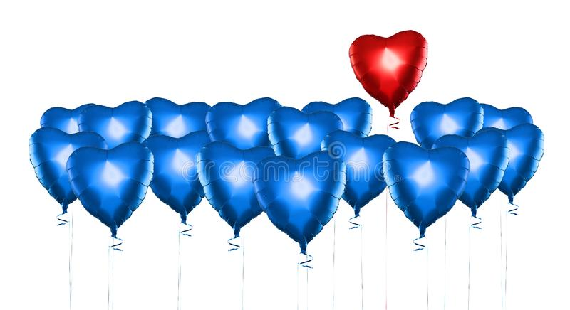 Set of Air Balloons. Bunch of color heart shaped foil balloons isolated on white background. Love. Holiday celebration. royalty free stock photo