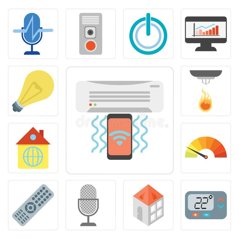 Set of Air conditioner, Thermostat, Home, Voice control, Remote, Meter, Sensor, Light, editable icon pack. Set Of 13 simple editable icons such as Air stock illustration