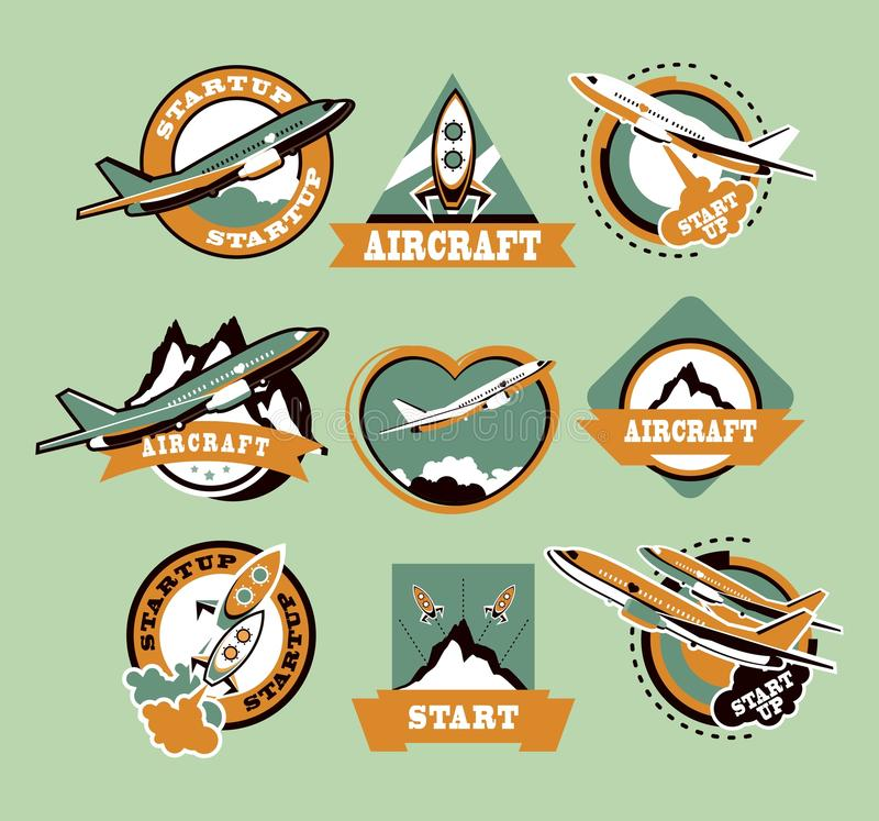 Set of aircraft icons vector illustration