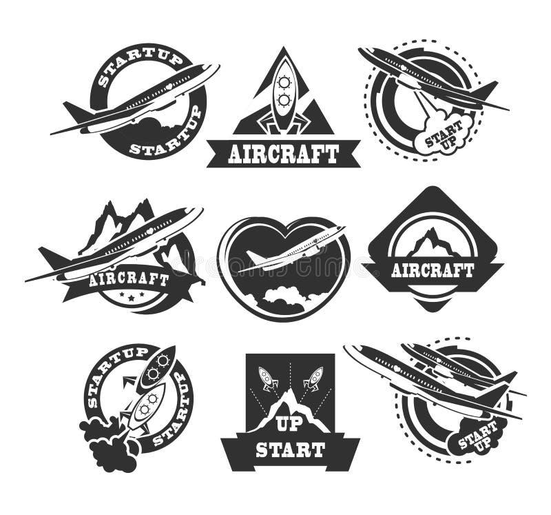 Set of aircraft icons stock illustration