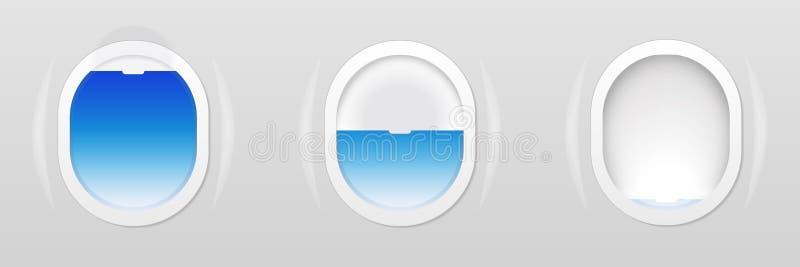 Set of Aircraft windows. Plane portholes isolated. Vector illustration. Set of Aircraft windows. Plane portholes isolated. Vector illustration for web royalty free illustration