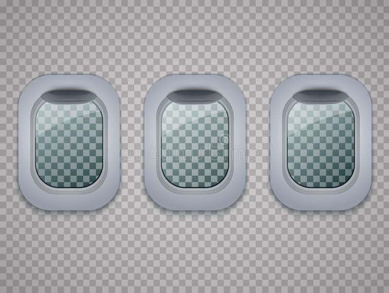 Set of Aircraft windows. Plane portholes on transparent background. Vector. Set of Aircraft windows. Plane portholes on transparent background. Vector stock illustration