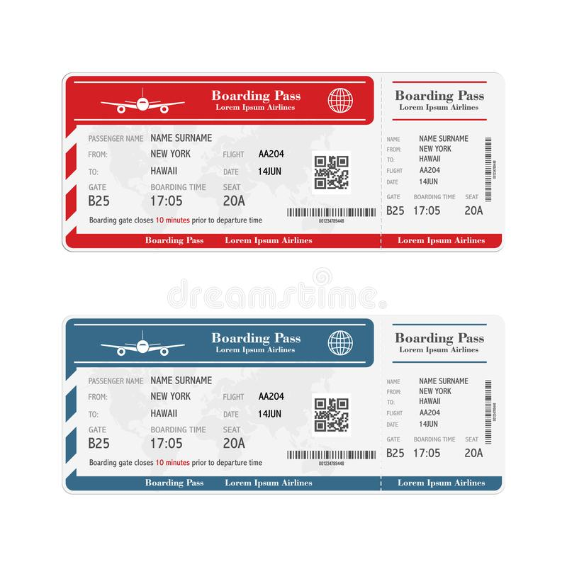 Set of the airline boarding pass tickets isolated on white background. Vector illustration. stock photos