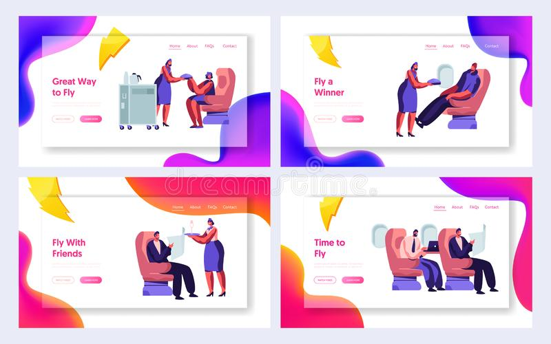 Set of Airline Service Website Landing Page Templates. Airplane Crew and Passenger Characters in Plane. Stewardess Serving People royalty free illustration