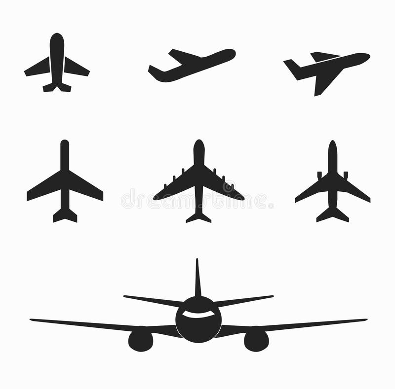 Set of airplane icon on white vector illustration