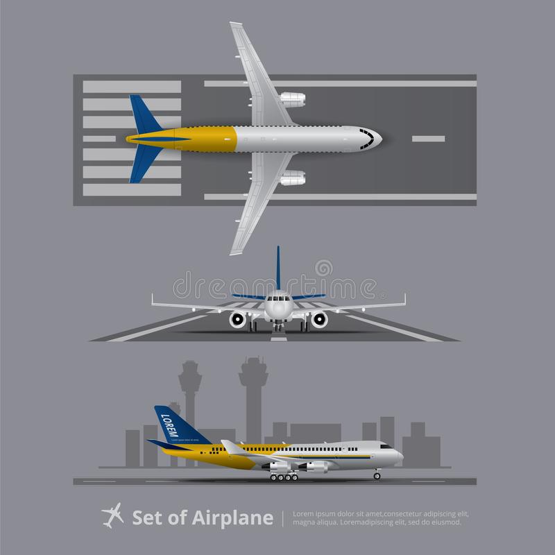 Set of Airplane on Runway stock illustration
