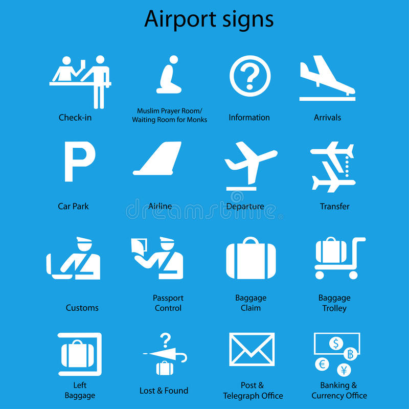 Set of airport signs and symbols on blue. Airport signs and symbols on blue background,eps 10 royalty free illustration