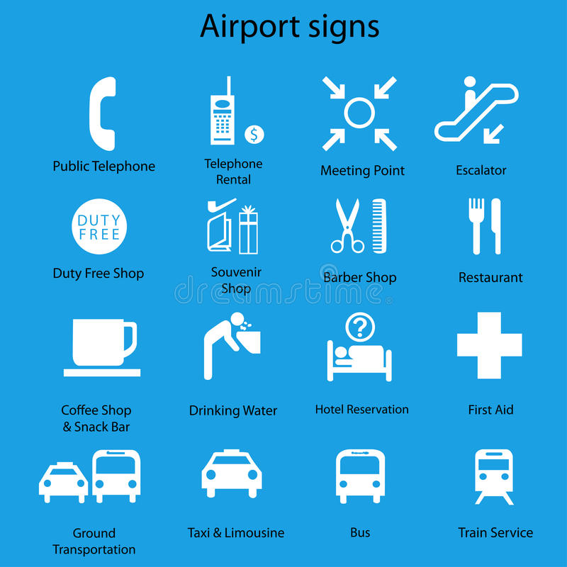 Set of airport signs and symbols on blue. Background,eps 10 stock illustration