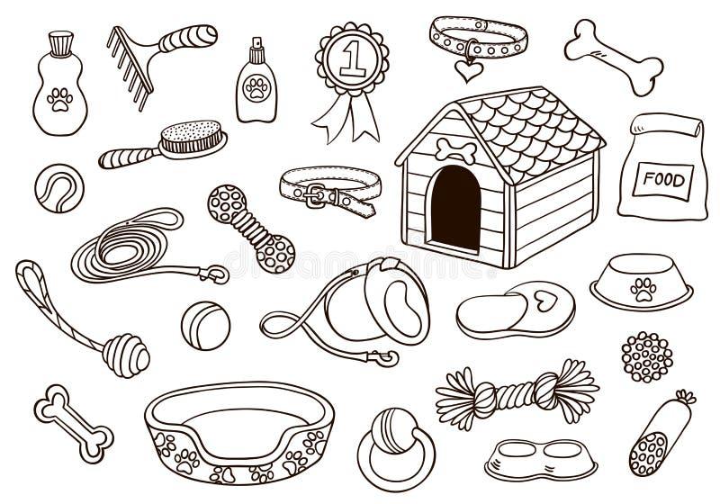 Set akcesoria dla psów royalty ilustracja