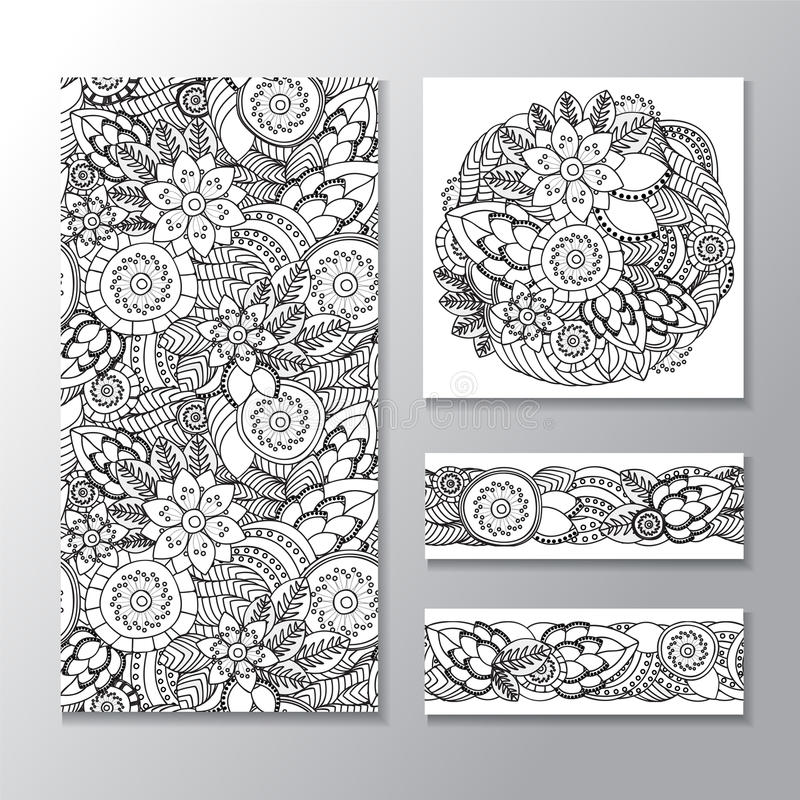 Set akcyjnego bezszwowego doodle kwiecisty wzór orient ilustracji