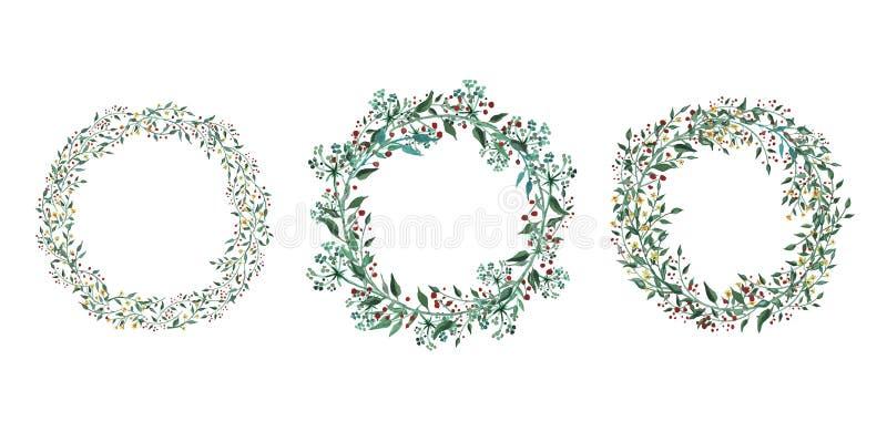 Set akwarela kwitnie, liście, gałąź, odizolowywać na bielu royalty ilustracja