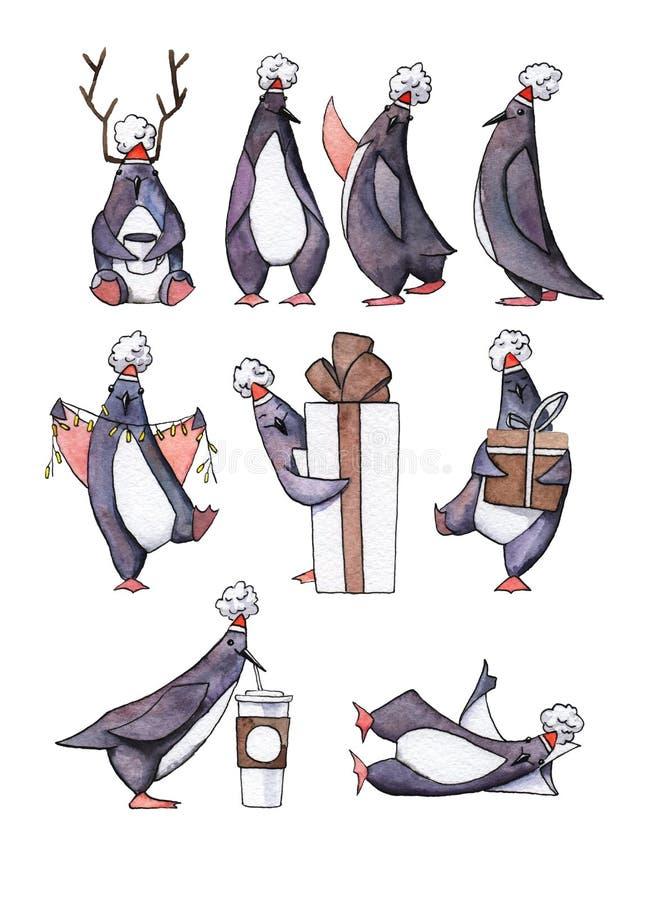 Set akwarela malujący pingwiny ilustracji