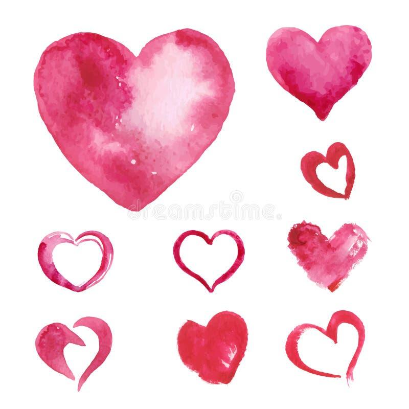 Set akwarela malujący różowy serce ilustracji