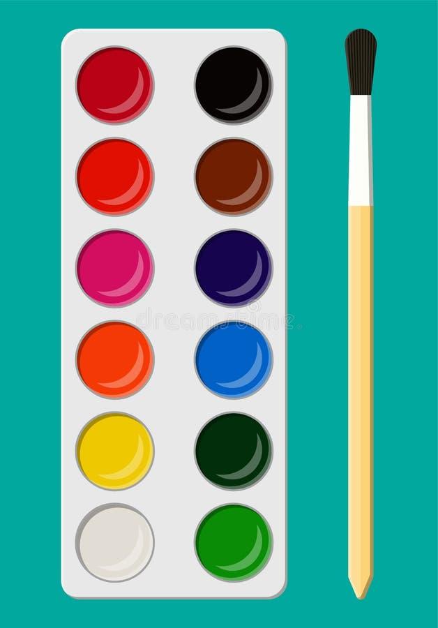 Set akwarela maluje w pudełku z farby muśnięciem ilustracji
