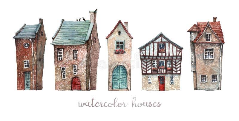 Set akwarela starzy domy ilustracja wektor