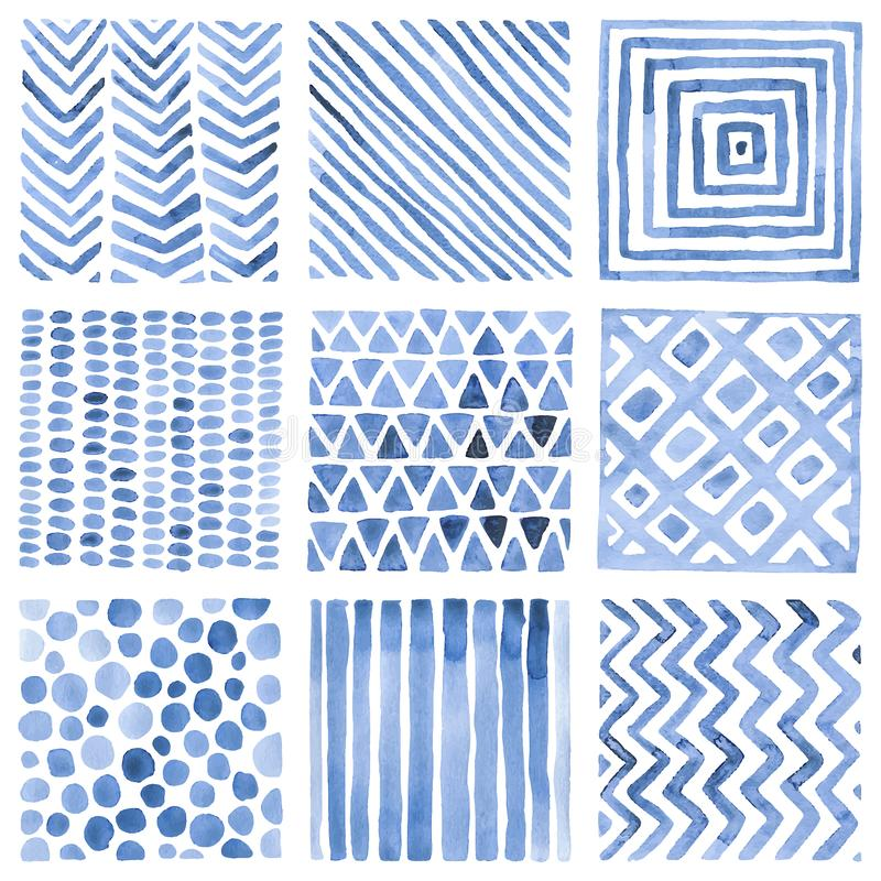 Set akwarela wzory Błękitów ornamenty na białym tle handwork ilustracji