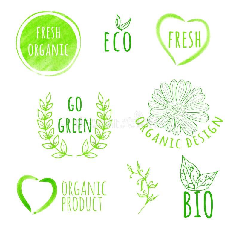Set akwareli żywności organicznej etykietki Eco produkt ilustracja wektor