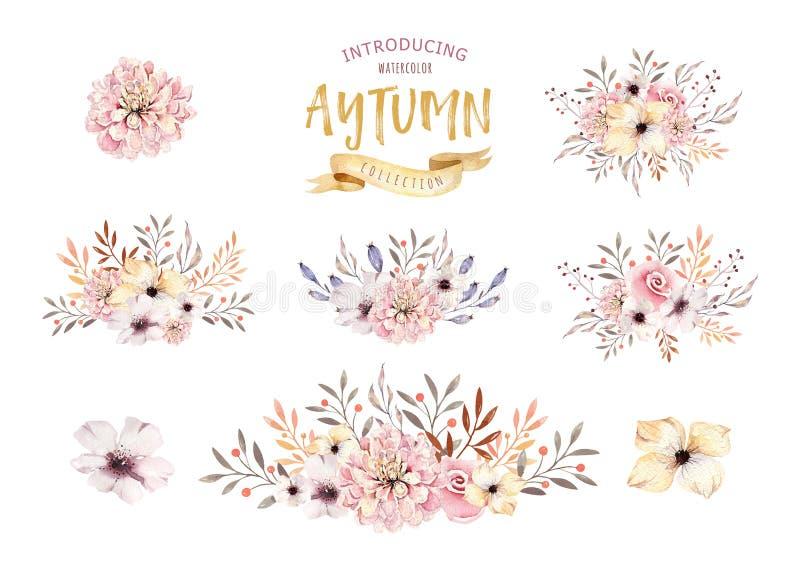 Set akwareli boho kwieciści bukiety Watercolour artystyczna naturalna rama: liście, piórka, kwiaty, Odizolowywający na bielu royalty ilustracja