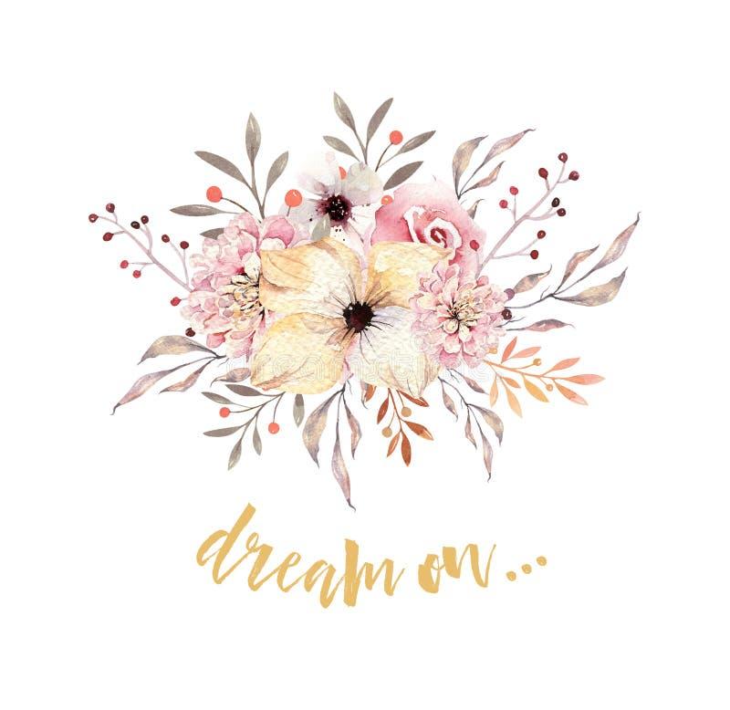 Set akwareli boho kwieciści bukiety Watercolour artystyczna naturalna rama: liście, piórka, kwiaty, Odizolowywający na bielu ilustracji