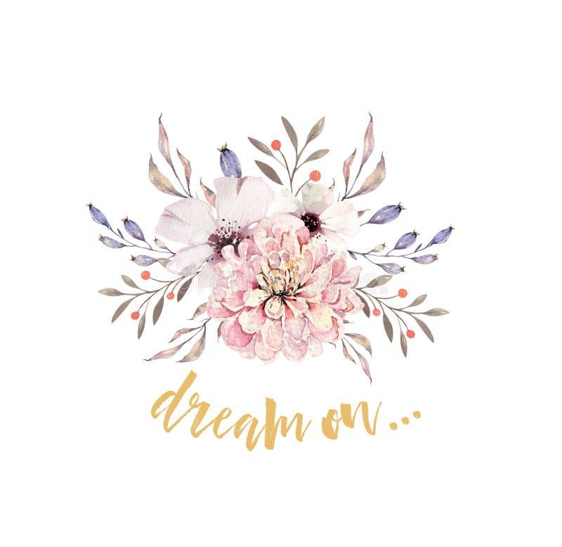 Set akwareli boho kwieciści bukiety Watercolour artystyczna naturalna rama: liście, piórka, kwiaty, Odizolowywający na bielu ilustracja wektor
