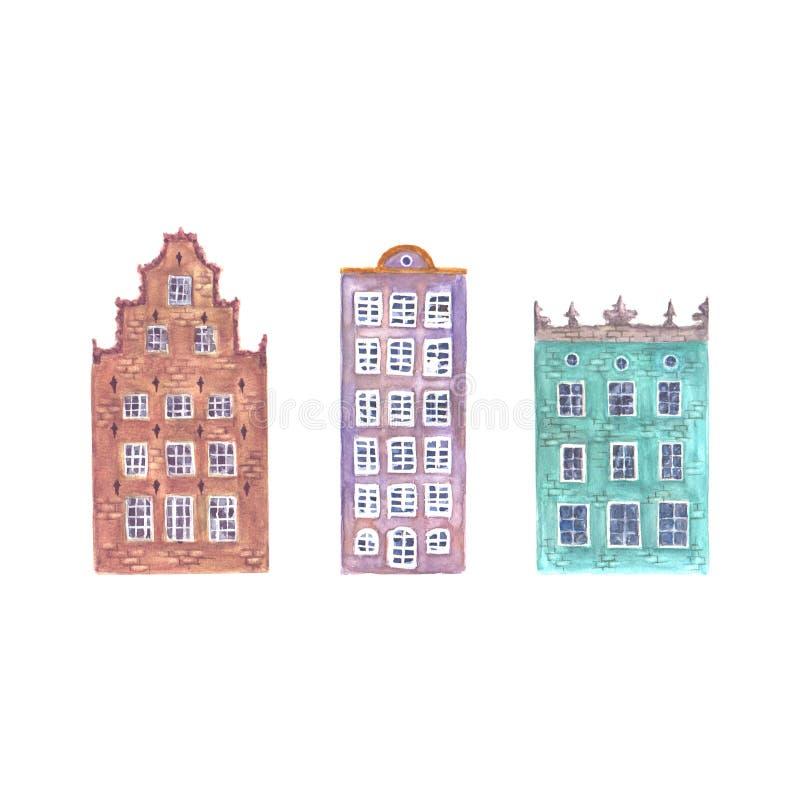 Set akwareli Europe starzy domy odizolowywający royalty ilustracja