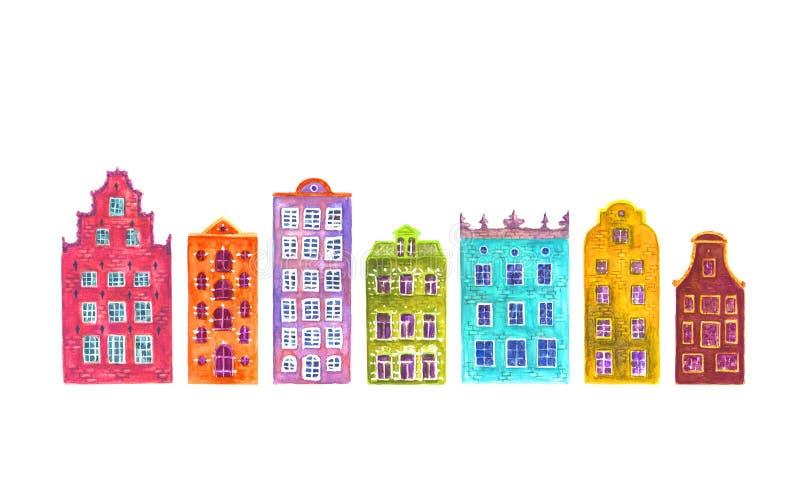 Set akwareli Europe starzy domy odizolowywający ilustracji