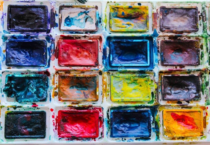 Set akwareli farby od 20 kolorów zdjęcia stock