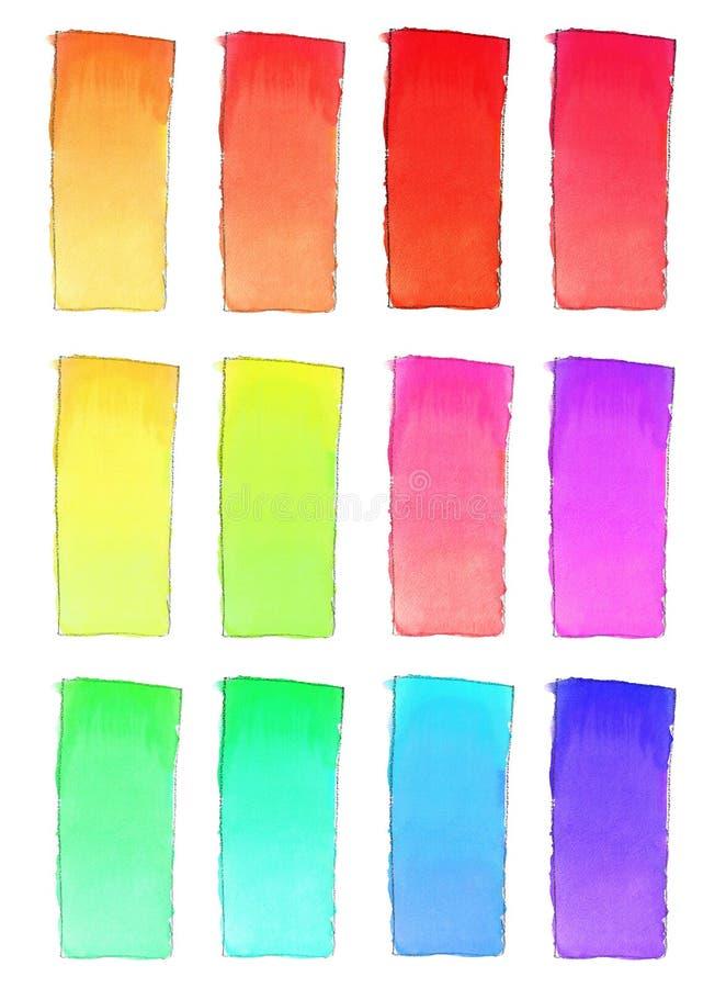 Set 16 akwareli gradientowa pełnia dla tła Tekstura akwarela papier Pionowo prostokąt odskakiwał linią rysunek ilustracja wektor
