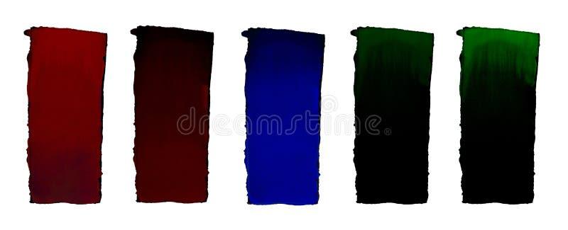 Set 5 akwareli gradientowa pełnia od koloru czerń dla tła Tekstura akwarela papier Pionowo prostokąt odskakujący obok ilustracja wektor