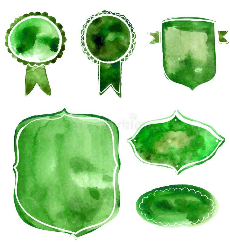 Set akwareli odznaki i etykietki zieleni i błękitni Wektorowi artystyczni elementy na bielu miętoszą papierowego tło dla natury,  ilustracja wektor