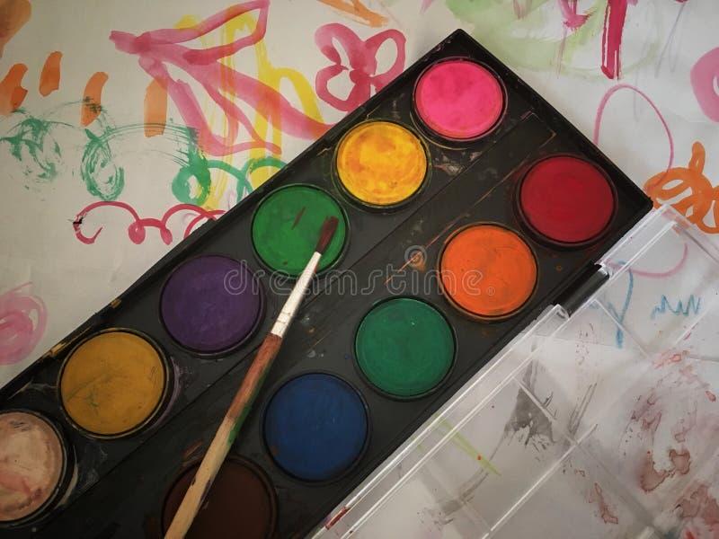 Set akwareli paintbrushes dla malować zbliżenie i farby zdjęcie royalty free