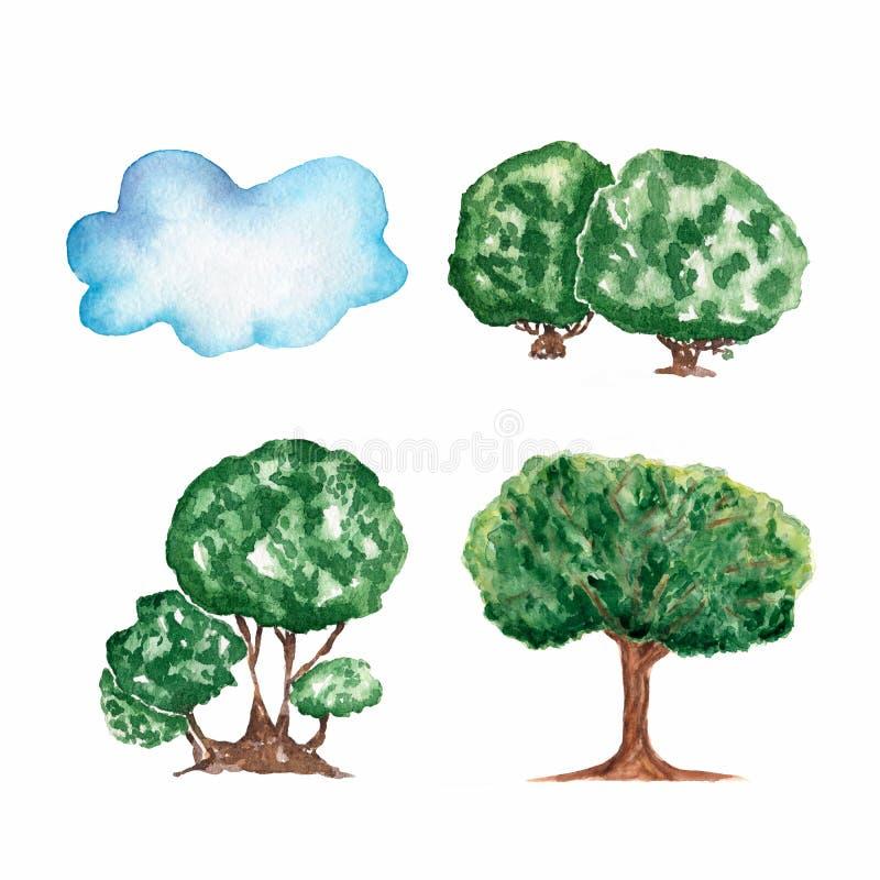 Set akwareli ręka rysująca różna chmura i drzewa ilustracji
