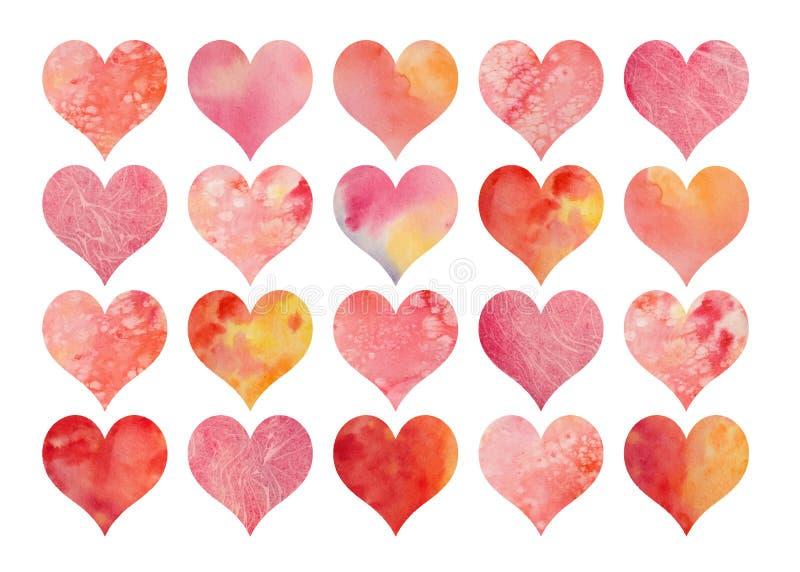 Set akwareli serca dla walentynki ` s ślubów lub dnia ilustracja wektor