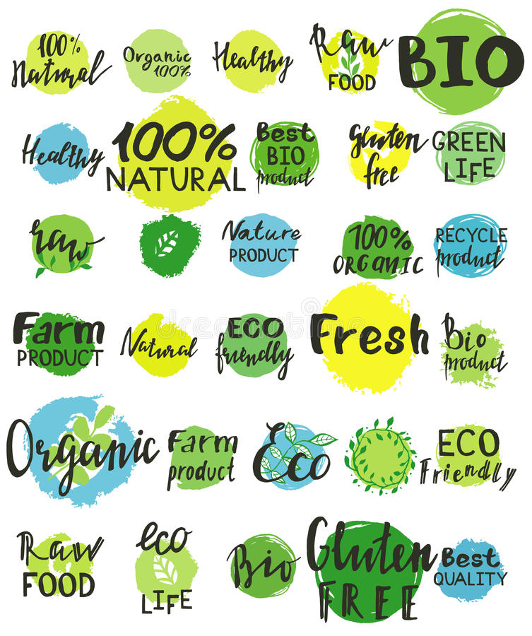 Set akwareli zieleni logo obrazy stock