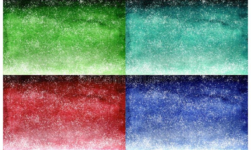 Set akwareli zieleni szmaragd, czerwony marsala i błękitna marynarka wojenna, gradientowy tło projekt z kropkami jak gwiazdy obraz royalty free