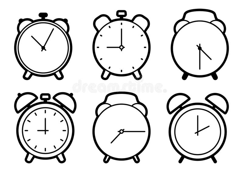Set of alarm clock icons, black outline design. Vector royalty free stock image