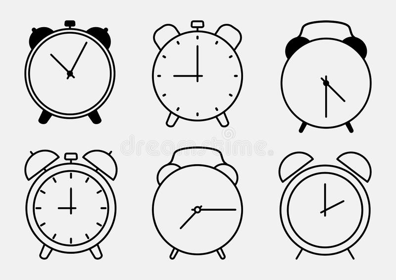 Set of alarm clock icons, outline design. Vector vector illustration