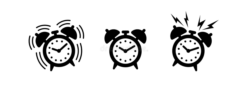 Set of alarm clocks. Wake up illustration. Time. Black and white vector icon, shape, label, symbol or pictogram. Set of. Ringing and vintage alarm clock. Vector vector illustration