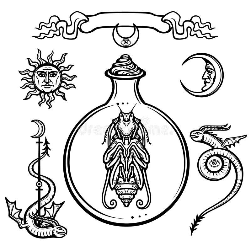 Set alchemical symbole Początek życie Mistyczna jednostka w próbnej tubce Religia, mistycyzm, okultyzm, czarnoksięstwo royalty ilustracja