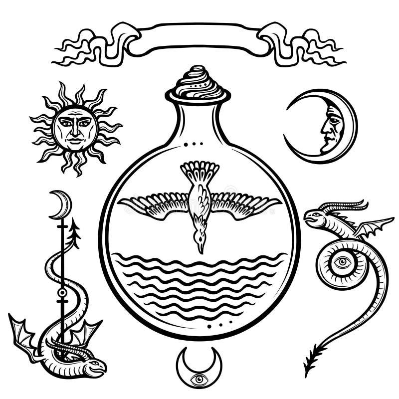 Set alchemical symbole Początek życie Symbolical ptak w próbnej tubce Religia, mistycyzm, okultyzm, czarnoksięstwo ilustracji