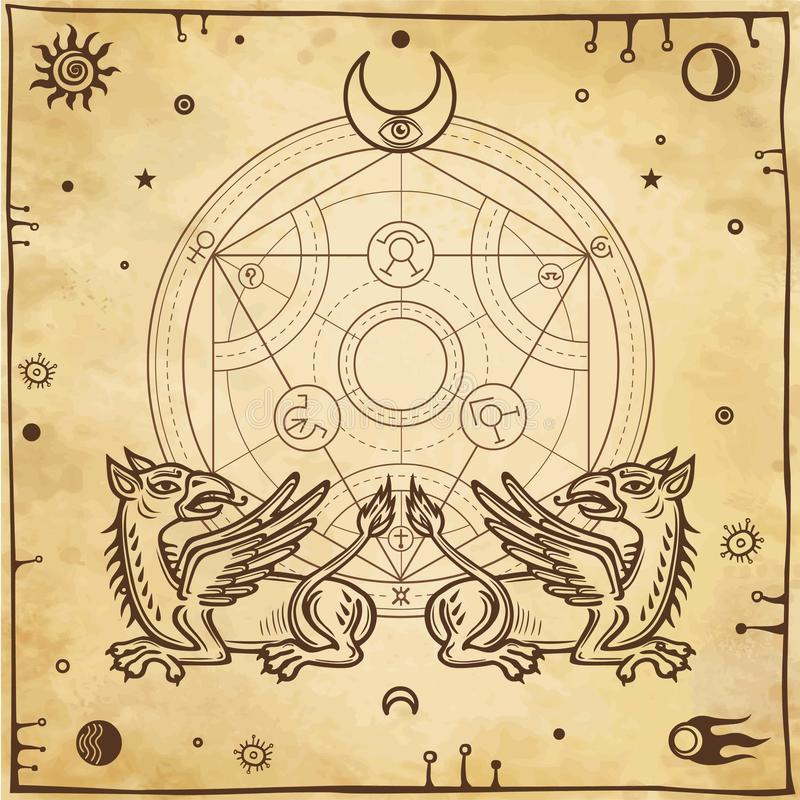 Set of alchemical symbols. Mythical dragons protect a mysterious alchemical circle. vector illustration
