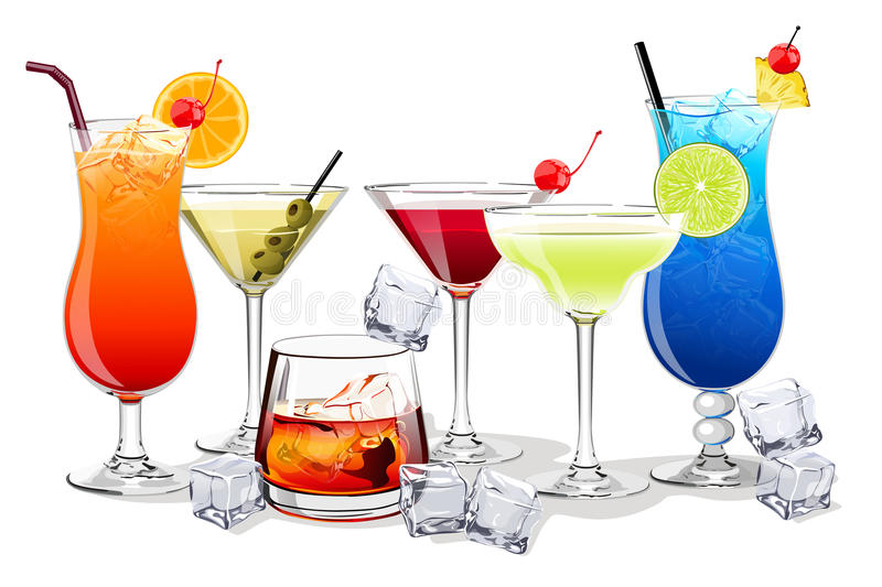 Set of alcohol and fruit cocktails and drinks illustration. Illustration stock illustration