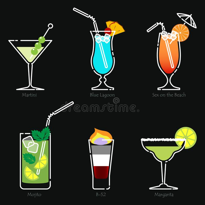 Holidays club party summer cocktails. Vector. Set of alcoholic cocktails isolated on black background. Martini, Blue Lagoon, Sex on the Beach, Mojito, B-52 stock illustration