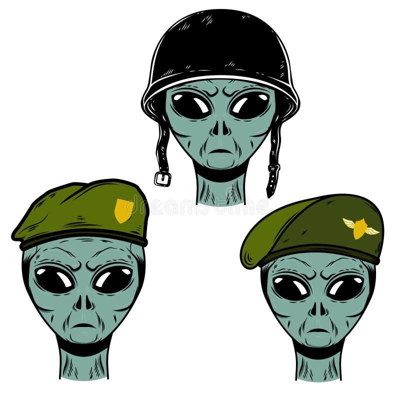 Set of alien soldier in battle helmet and paratrooper beret. Design element for logo, label, emblem, sign, poster, t shirt. vector illustration