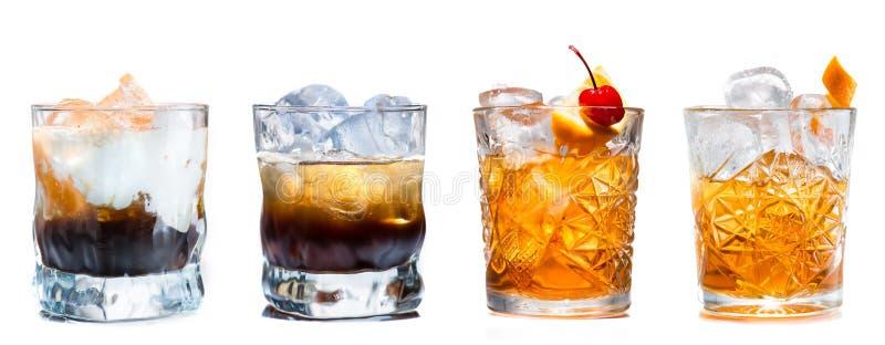 Set alkoholiczni koktajle odizolowywający fotografia royalty free