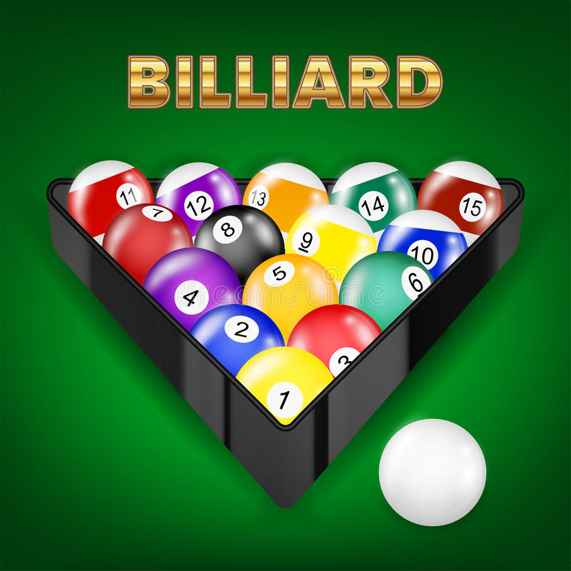 Set of all billiard balls in triangle royalty free illustration