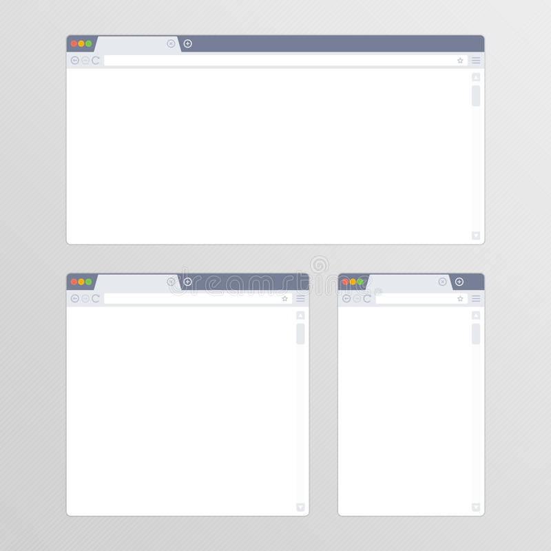Set of all size browsers. Empty Browser window in flat style vector illustration. Mockup web browser screen different sizes in modern design. Blank Browsers vector illustration