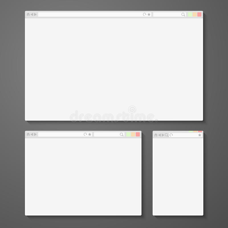 Set of all size browsers for site preview. Computer, tablet, phone sizes. Vector illustration stock illustration